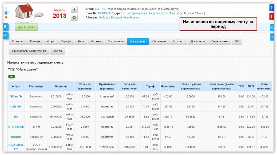 Расчет квартплаты в биллинговой интернет-системе ЖКХ