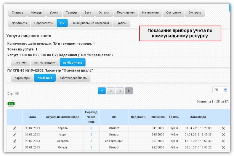 Учет и хранение показаний счетчика по коммунальному ресурсу